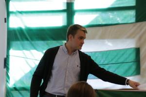 Christian Gonder nach seiner Kandidaturrede beim JEF Bundeskongress 2015 in Berlin