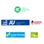 Logos JEF Hessen, JU Hessen, Jusos Hessen Süd, Junge Liberale Hessen, Grüne Jugend Hessen