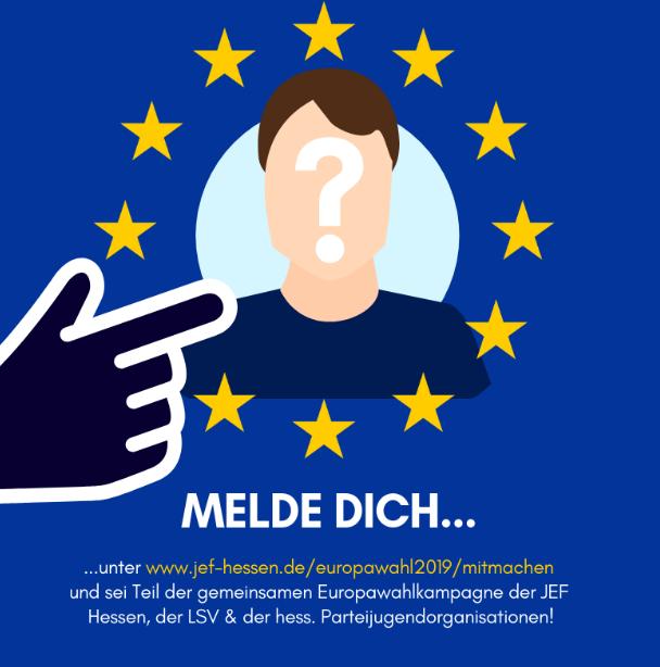Melde Dich unter www.jef-hessen.de/europawahl2019/mitmachen und sei Teil der gemeinsamen Europawahlkampagne der JEF Hessen, der hessischen Parteijugendorganisationen und der Landesschülervertretung Hessen!