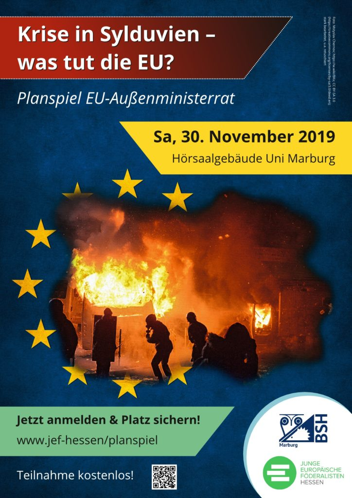 Plakat Planspiel 'Krise in Sylduvien' am 30.11.2019 in Marburg