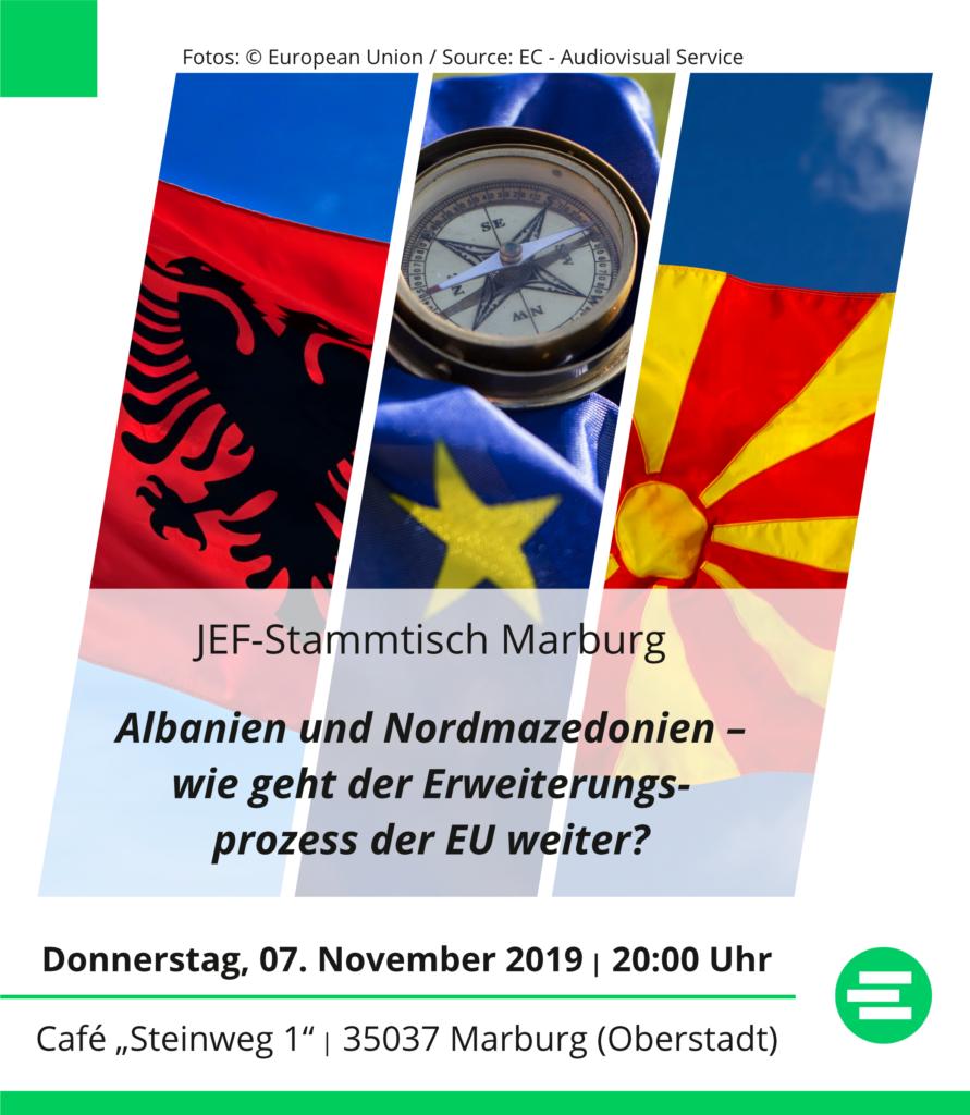 """Stammtisch Marburg 07.11.2019: """"Albanien und Nordmazedonien – wie geht der Erweiterungsprozess der EU weiter?"""" um 20 Uhr im Café Steinweg 1 in der Oberstadt"""