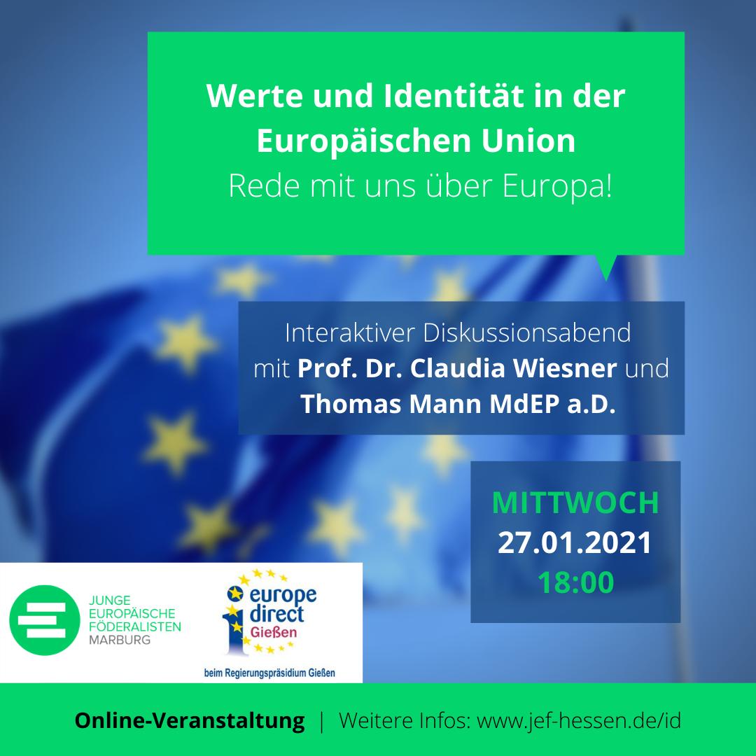 JEF Marburg: Interaktiver Diskussionsabend mit EDIC Gießen am 27.01.2021 - Werte und Identität in der Europäischen Union